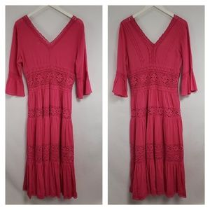 Neiman Marcus Hot Pink Boho Eyelet Maxi Dress